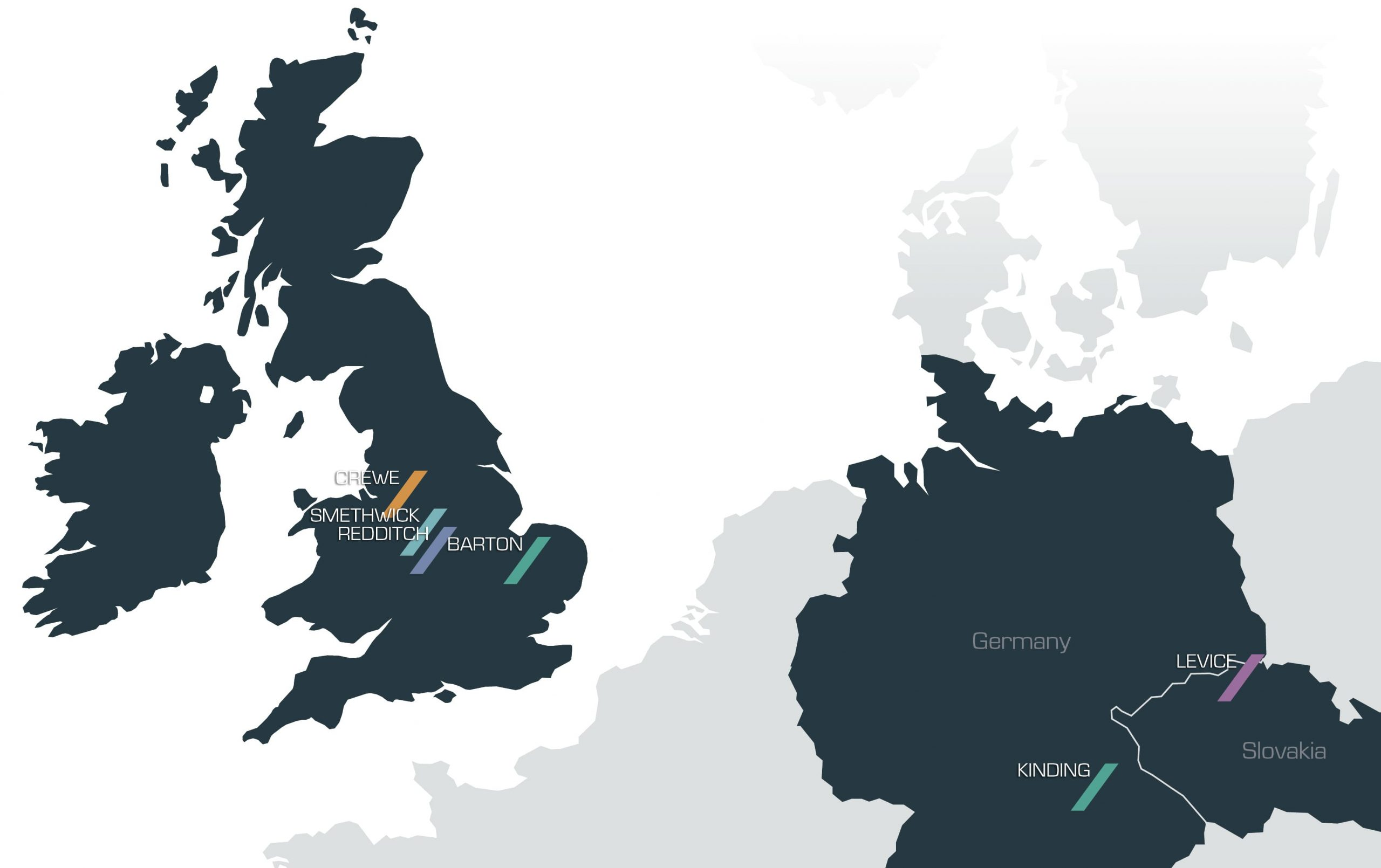 Map of client locations across UK and Europe